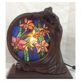 Bronze Medallion Tiffany style lady vanity lamp
