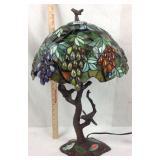 Bronzed bird tree base Tiffany style lamp