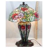 Large Tiffany style stained-glass parlor lamp