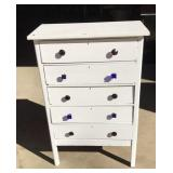 Old painted five drawer dresser with glass knobs