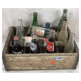 Old wood 7-Up Crate with Vintage Bottles