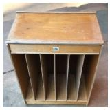 Rolling wood artist supply cabinet