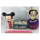 Mickey Mouse Flashlight & Betty Boop Tin