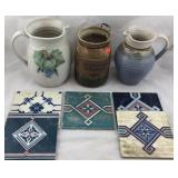 Pottery Pitchers, Jar, and Tiles