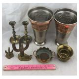 Metal Vase, Brass Candleholders, Small Spittoon