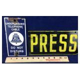Vintage Bell System Telephone Sign & Press Sign