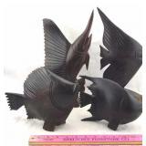 4 Solid Wood Fish Sculptures