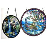 2 Round Art Glass Sun Catchers