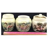3 Hand painted Porcelain Canisters
