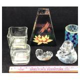 Assortment of Glass Candle Holders