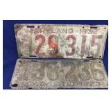 Old Maryland License Plates - 1923 & 1932
