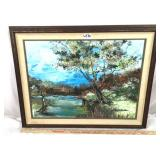 Hand painted oil on board river scene