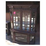 Vintage ornate China cabinet oak wood