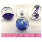 3 Art Glass Paperweights and 1 Art Glass Ornament