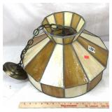 Vintage stained slag glass hanging lamp