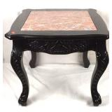 Ornately carved inlaid marble top side table