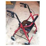 Featherlight walker seat with basket