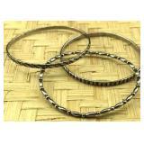 3 Sterling Silver Bangle Bracelets