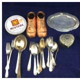 Silver Plated Flatware, Copper Shoes, Etc.