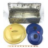 Galvanized Metal Box & Three Pot Lids