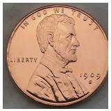One Ounce .999 Fine Copper 1909 S Bullion Round