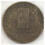 19th Century Jack's Little Green Card Token