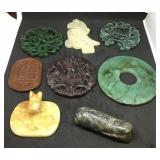 8 Carved Stone Pendants