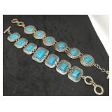 Pair of Silver Tone Bracelets With Turquoise
