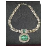 Silver Tone Necklace With Green Stone Pendant