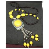 Beaded Necklace With Large Round Yellow Pendant