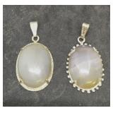 Pair of Silver Tone Agate Pendants