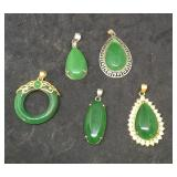 Five Pendants With Single Large Green Stones