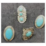 4 Silver Tone Turquoise Type Rings