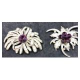 2 Vintage Silver Tone Pins With Purple Centers