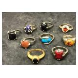 9 Rings With Various Stones