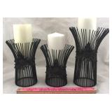 3 Metal Candle Holders with Candles