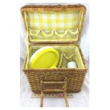 Picnic Basket with Plastic Plates, Utensils