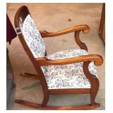 Antique solid mahogany upholstered rocking chair
