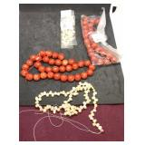 2 Strands Each of Red Sponge Coral Beads and Pink