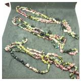 3 Strands Of 36 Inch Multi-Color Tourmaline Chip