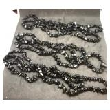 Trio of 34 Inch Black Tourmaline Chip Necklaces