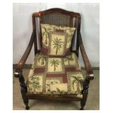 Wicker Back Chair with Upholstered Seat