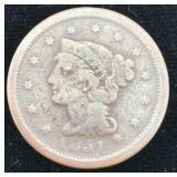 1851 Braded Hair Large Cent