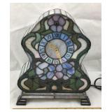 Tiffany Style Stained Glass Mantle Clock Lamp