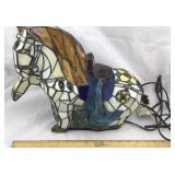 Tiffany Style Stained Glass Horse Lamp