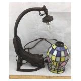 Metal Stretching Cat Lamp w/ Stained Glass Globe