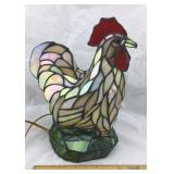 Tiffany Style Stained Glass Rooster Lamp