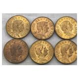 Six 1970 Five Cent Mexican Coins