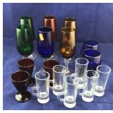 Tray Lot of Deep Colored Glassware With Some Clear
