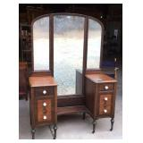 Vintage walnut vanity with trifold mirror